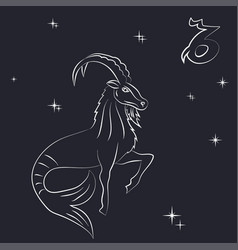 White outline of capricorn are on black background vector
