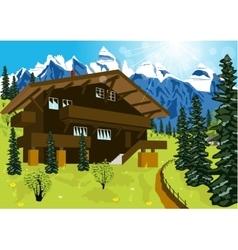 wooden chalet in mountain alps vector image vector image