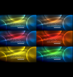Collection of neon glowing particle waves vector