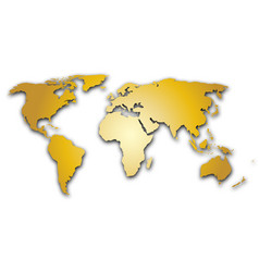 golden world map silhoutte metal like design with vector image