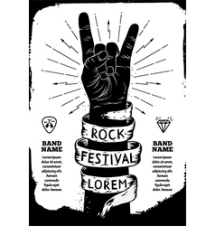 Rock festival poster Rock and Roll hand sign vector image vector image