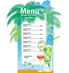 template designs of cocktail menu vector image