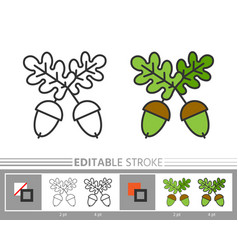 acorn editable stroke linear icon coloring page vector image