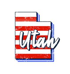 american flag in utah state map grunge style vector image