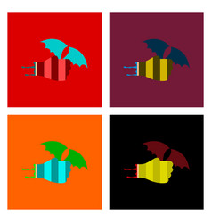 Assembly flat icons hand bat vector