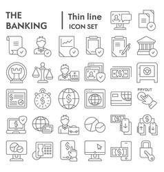 banking thin line icon set finance symbols vector image