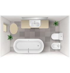 Bathroom interior top view room with bath tub vector