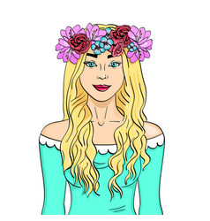 beautiful and young girl blonde wreath on head vector image