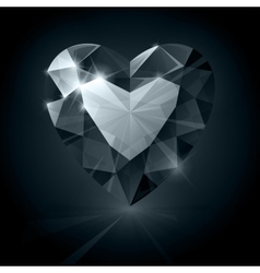 Black shiny diamond heart shape on black vector