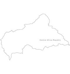 Black White Central African Republic Outline Map vector image