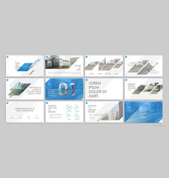 Blue presentation templates elements on a white vector