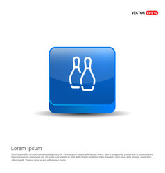 Bowling pin icon - 3d blue button vector