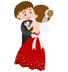 Bride and groom hugging vector