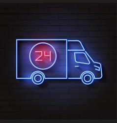 bus neon sign night bright advertisement vector image