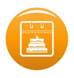 Calendar birthday icon orange vector