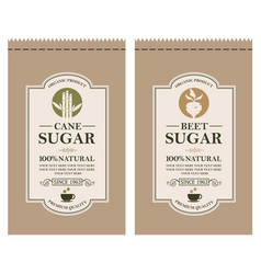 Cane and beet sugar labels vector