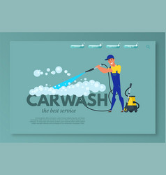 Car wash landing page template vector