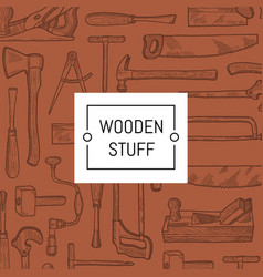 carpentry elements background with place vector image