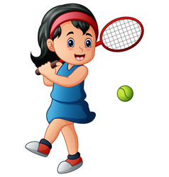 Cartoon girl playing tennis vector