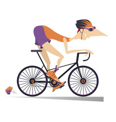Cartoon man rides a bike isolated vector