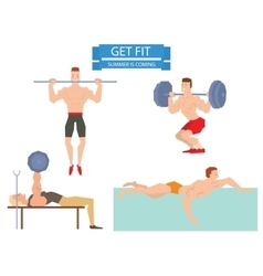 Cartoon sport gym people group exercise on fitness vector