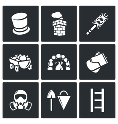 Chimney and heating coal icons set vector image