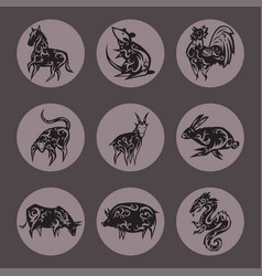 chinese zodiac eastern calendar traditional china vector image