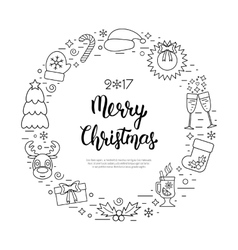 Christmas holidays circle frame with traditional vector image