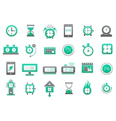 Clocks green gray icons set vector