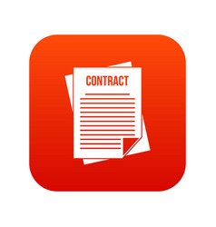 contract icon digital red vector image