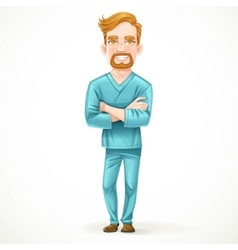 Cute male doctor in green surgical suit with arms vector
