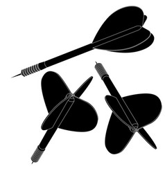 darts black icons vector image