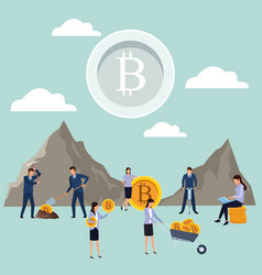 Digital mining bitcoin teamwork vector