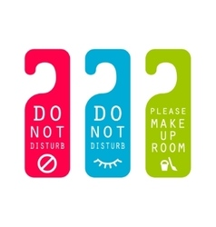 Do not disturb hotel service door tags vector