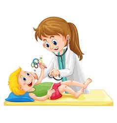 Doctor examining toddler boy vector