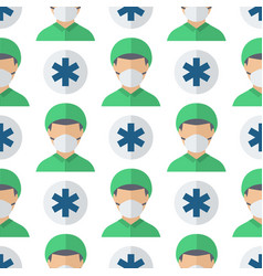 doctors profession charactsers seamless pattern vector image