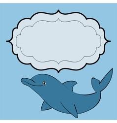 Dolphin sea animal frame text vector