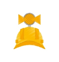 drawing helmet mining light protection vector image