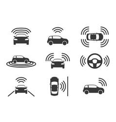 Driverless car icons autonomous driving cars gps vector