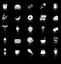Fast food icons with reflect on black background vector