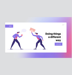 Fighting for leadership landing page template vector