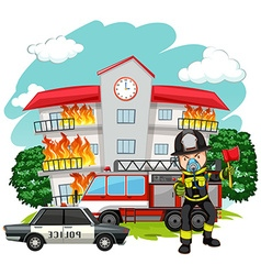 Fire fighter at the fire station vector