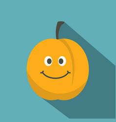 Fresh smiling apricot icon flat style vector