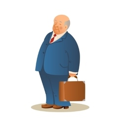 Funny old man with a suitcase Business elderly vector image