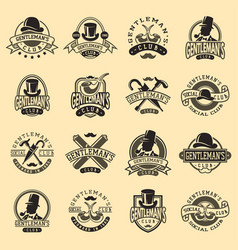 gentlemans vintage badges vector image