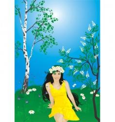 Girl spring vector