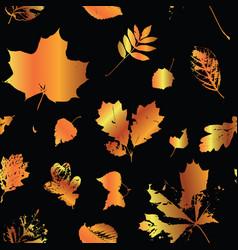 Golden autumn leaves on purple background seamless vector