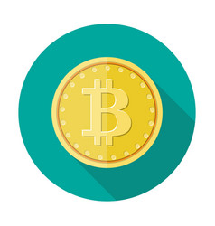golden coin with bitcoin sign money and finance vector image