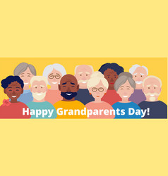 grandparents day poster happy elderly characters vector image