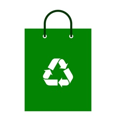 Green bag with recycle symbol vector